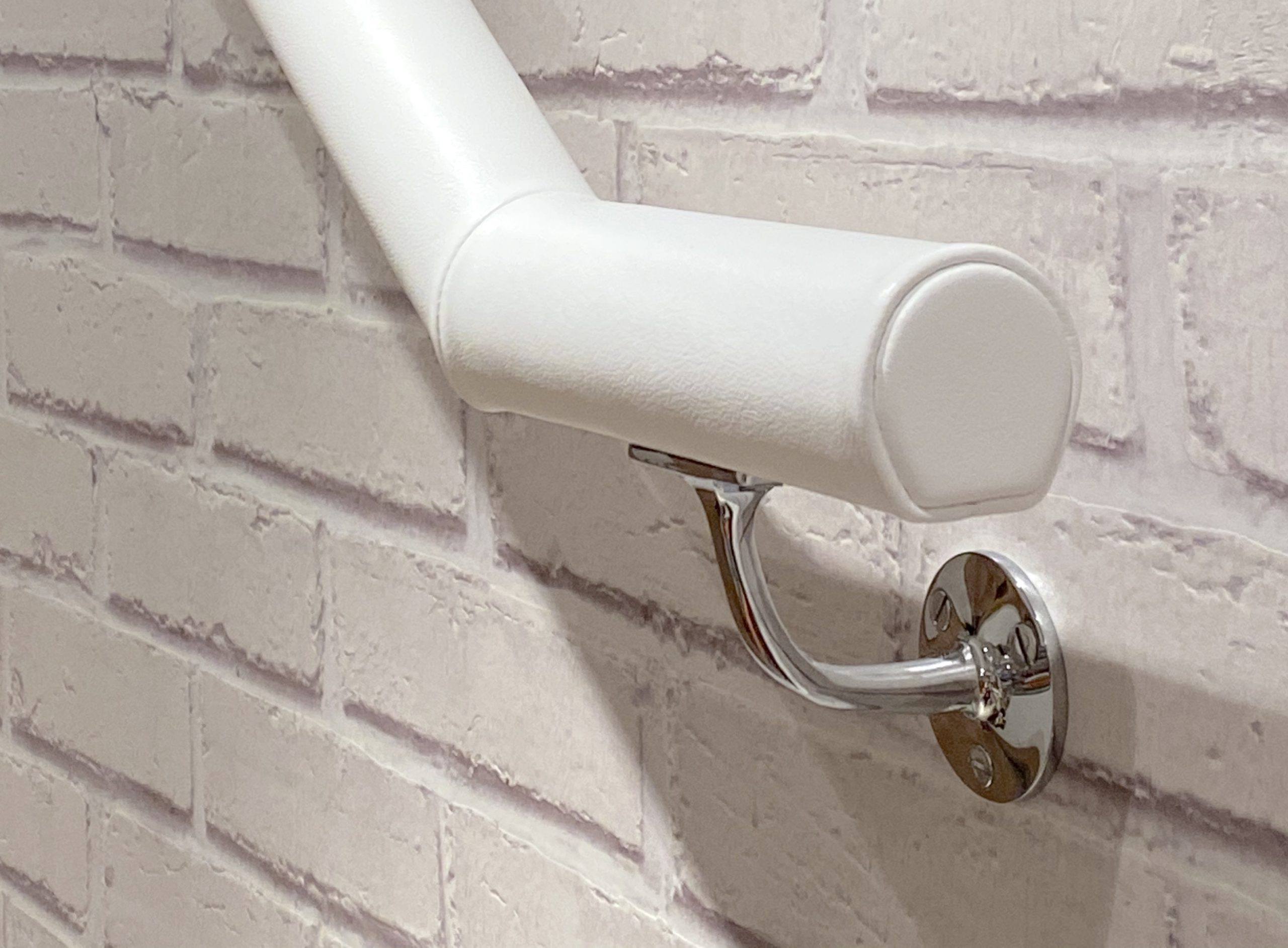 bespoke white leather handrail