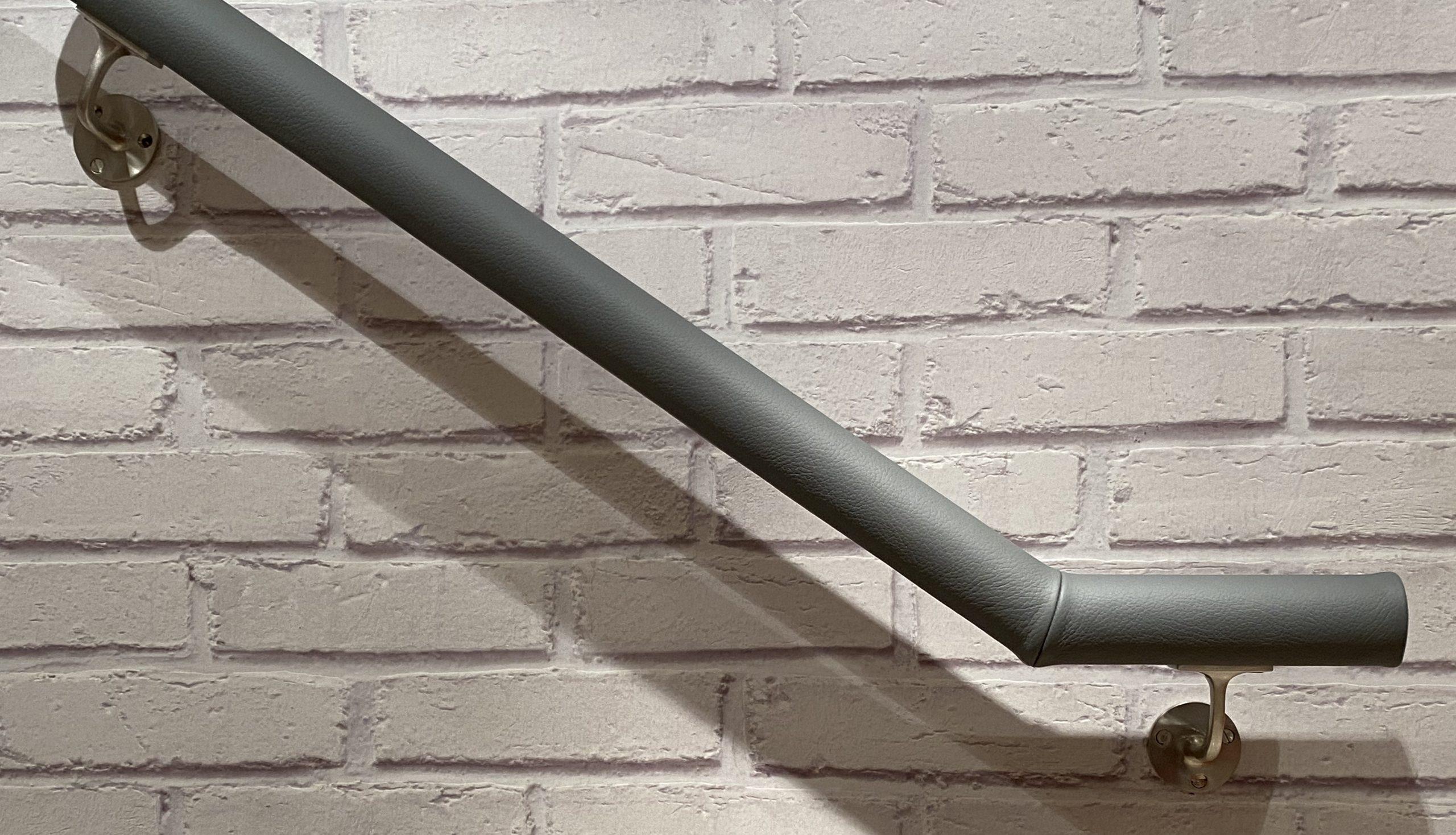 dark grey leather handrail