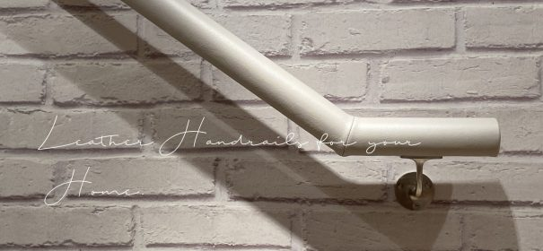 light grey leather handrail